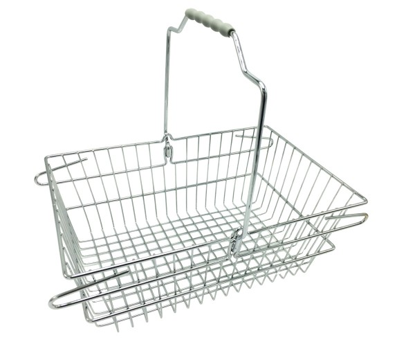 Einkaufskorb Metall, verchromt, 8 Liter