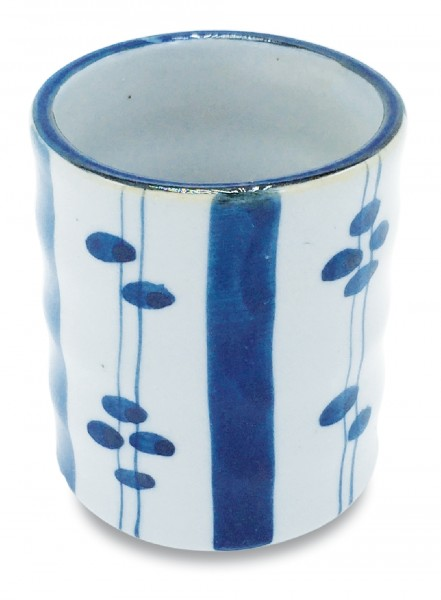Keramikbecher, handbemalt Dekor 'Blumen'