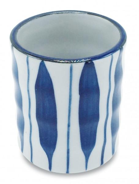 Keramikbecher, handbemalt Dekor 'Streifen'