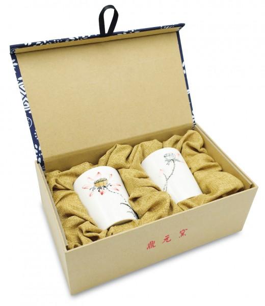 Becher-Set, Porzellan handbemalt, glänzend